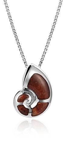 """Tropical USA Sterling Silver Koa Wood Nautilus Shell Necklace Pendant With 18"""" Box Chain"""