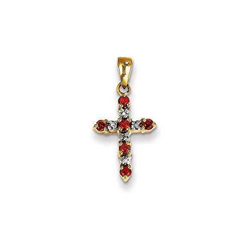 (14K Yellow Gold Themed Jewelry Pendants & Charms Solid 11 mm 22 mm Garnet Diamond Cross Pendant)