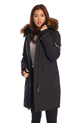 Alpine North Womens Vegan Down Long Parka Winter Jacket, Black ()