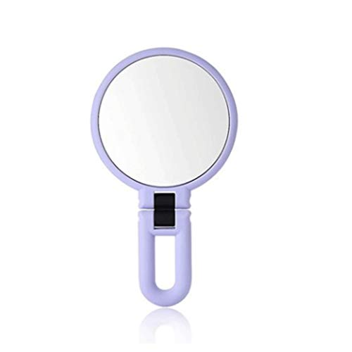 (Zhang$chuang Portable 12cm Swirl Handheld Mirror Real Image, Alabaster, 360 Degree Rotating Round Makeup Mirror Bathroom or Bedroom (Color : Purple))