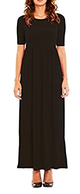 Womens Stylish Long Maxi Dress with Elastic Waistband, Elbow Sleeve by Velucci