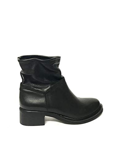 Basso In Vera Nero Vintage Tacco Stivali Pelle Zeta Biker Shoes wqfppH