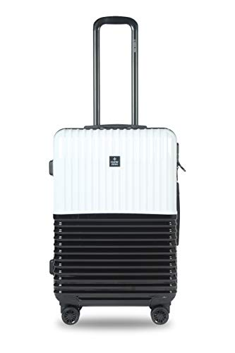 Nasher Miles Istanbul 24 Inch ,Check-in, Hard-Sided, Polycarbonate Luggage, Black and White 65cm Trolley Bag