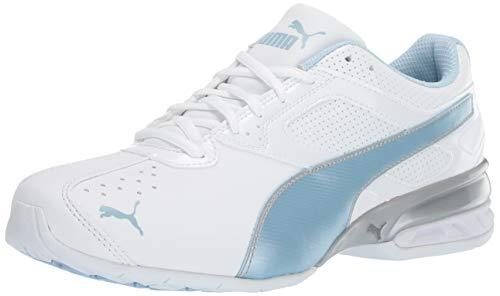 PUMA Women's Tazon 6 FM Sneaker, White-Cerulean Silver, 9 M - Train Puma