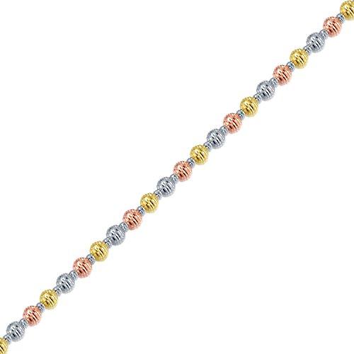 18ct 750Tri Couleur Rose Jaune or blanc diamant Bracelet de perles (19cm) Femme Bijoux Cadeau
