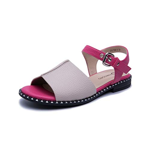 Women Sandals pu Buckle Summer Shoes Comfortable Casual Flat Shoes Female Unique Beach Big Size Sandals Pink