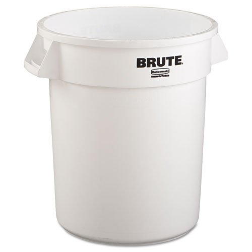 Rubbermaid Commercial Brute Refuse Container, Round, Plastic, 20 gal, White - Includes one each. by Rubbermaid Commercial