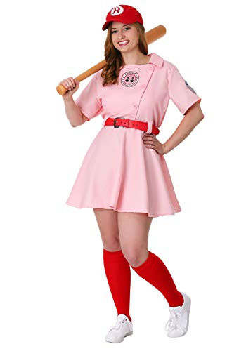 League of Their Own Dottie Plus Size Womens Costume Set 1X Pink