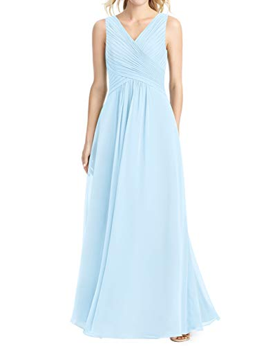 (Cdress Long Bridesmaid Dresses Chiffon V-Neck Prom Evening Dress Wedding Party Formal Gowns Maxi US 22W Sky Blue)