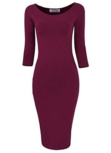 vip Women's Lady Classic Solid Bandage Bodycon Pencil Party Club Midi Dress Medium Wine Red