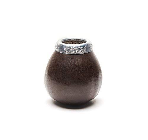 Balibetov [NEW] Handmade Natural Mate Gourd Set (original Mate cup) Including Bombilla (Yerba Mate straw) DARK BROWN