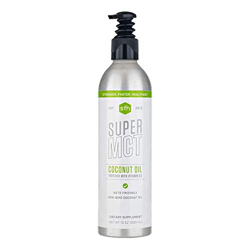 Super MCT Oil by SFH | Premium Keto Friendly Supplement | Pure Oil from Non-GMO Coconuts | Boost Ketogenic Coffee Tea Smoothies | Fat Booster for Brain, Bone Health | 10 oz Bottle