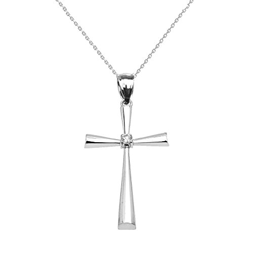 Religious Jewelry by FDJ Sterling Silver Solitaire Diamond Cross Beautiful Pendant Necklace, 22