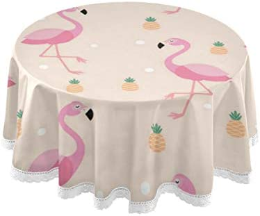 Amazon Com Bardic Cfauiry Round Tablecloth Flamingo Pineapple 60 Inch Washable Lace Edge Table Cloth Non Slip Table Cover Party Dinner Kitchen Home Decor Home Kitchen
