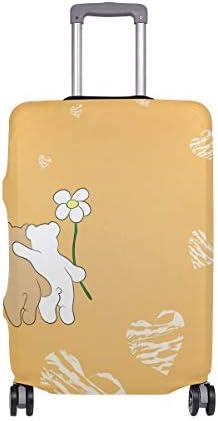 (ソレソレ)スーツケースカバー 防水 伸縮素材 キャリーカバー ラゲッジカバー 熊 熊柄 イエロー ハート かわいい 可愛い 黄色 可愛い おしゃれ 防塵 旅行 出張 便利 S M L XLサイズ