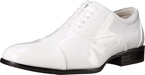 STACY ADAMS Men's Gala Cap Toe Oxford White Patent 8 EE US