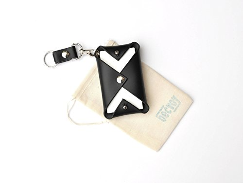 black and white card case, mini wallet, coin pouch, eco friendly, smooth leather bag, 3rd year anniversary, monogram gift, key fob, key holder, buttero leather, personalized gift 1733