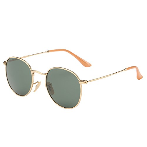 Joopin-Men Retro Brand Polarized Sunglasses Women Vintage Round Sunglasses (Dark Green, Simple - Eyewear Vintage Brand