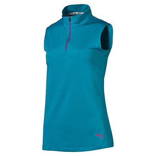 Puma Golf Women's 2019 Sleeveless Mock, Caribbean Sea, - Golf Mock Performance Shirt