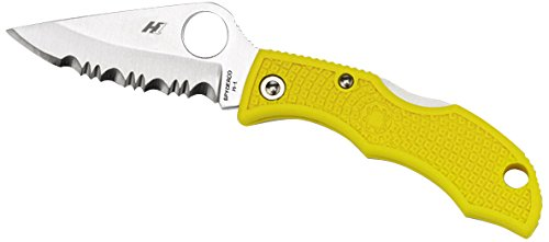 Spyderco Ladybug 3 H-1 Rust Free Serrated Edge Knife, Yellow - Spyderco Ladybug 3 Serrated