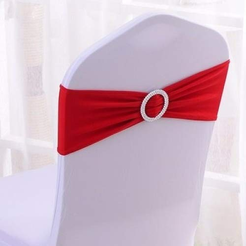 (100PCS Stretch Wedding Chair Bands With Buckle Slider Sashes Bow Decorations 10 Colors (Red))
