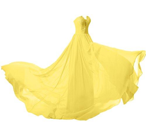 ysmo Mujer Sweetheart Lace Applique Prom Vestido 2016gasa larga noche bata Amarillo