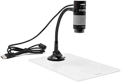 Plugable USB 2.0 Digital Microscope with Flexible Arm Observation Stand for Windows, Mac, Linux (2 MP, 250x Magnification)