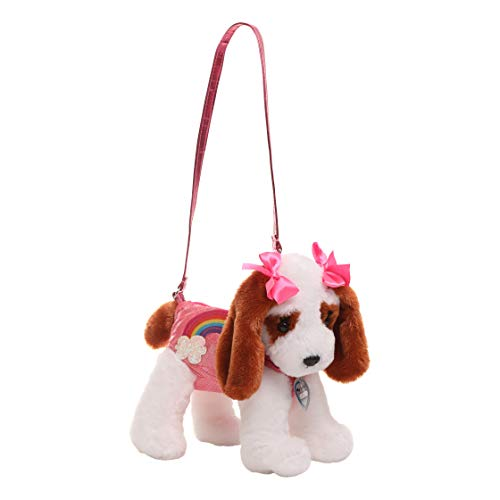 - Poochie Girls Plush Handbag- King Charles with Pink Halographic Disco Dots and Rainbow Applique