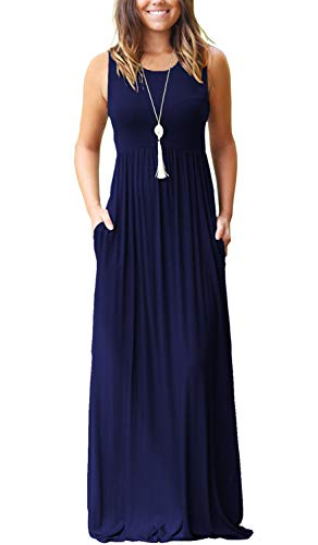 MOLERANI Women's Sleeveless Loose Plain Maxi Dresses Casual Long Dresses with Pockets (S, 1-Navy Blue)