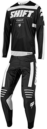 Shift MX 2019 Black Label Strike Motocross Off-Road Dirt Bike Riding Gear Combo (Mens Black & White Jersey Large/34W Pant)
