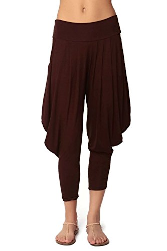 Simplicitie Women's Soft Yoga Sports Dance Harem Pants - Brown, Small - Made in USA by SimplicitieUSA