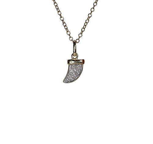 Diamond Horn Tusk Pendant Necklace- 14k Gold- genuine white diamonds (ctw ()