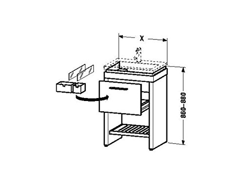 Duravit Waschtischunterschrank steh. 2nd floor 420x580x860-880mm 1 Auszug, für 049160, eiche anthraz