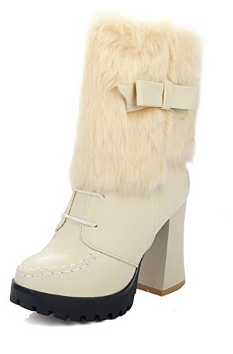 Low Soft Zipper Top High Heels Beige Material Women's Toe Round Closed Boots AgooLar wzfqCf
