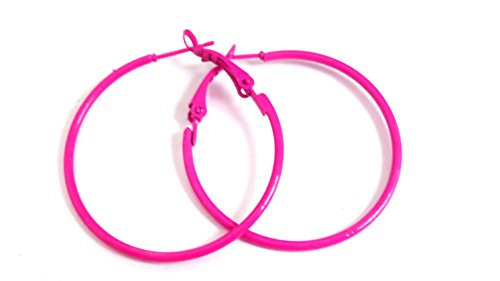Pink Hoop Earrings (Hot Pink Hoop Earrings Simple Thin Hoop Earrings 1.5 Inch Hoop Earrings)