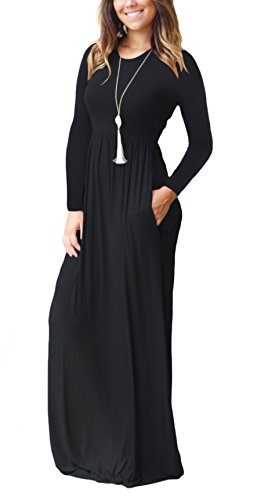 DEARCASE Women's Round Neck Long Sleeves A-line Casual Maxi Dresses with Pocket Black X-Large