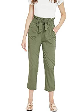 PANIT Women's Olive Green Regular Fit Solid Cropped Peg Trousers