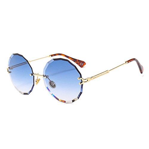 UV400 Reborde señoras Blue C3 mujer Tonos C1 G445 de gafas Sunglasses gafas de Lente gris sol Lens sol Vintage gafas TL redondo 5qRPwWO