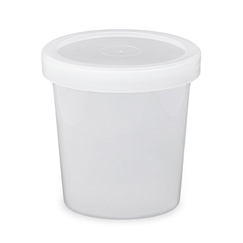 16 oz. Food Grade Freezer Grade Round Container with Lid - Translucent - 10 Pack (Snap On Grommets)