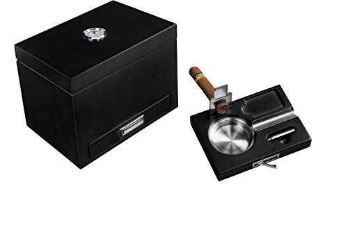 Cigar Humidor with Drawer Ashtray Set, Cutter and Puncher. Includes humidifier & Hygrometer. Holds 20-25 Cigars - by Flint and Ember ()