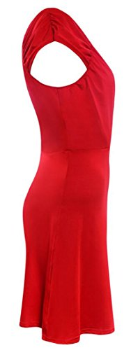 Neck Flared Red Ruched Mini Waist Dress High Sleeveless V Cromoncent Solid Deep Womens 7BwUgBYq8