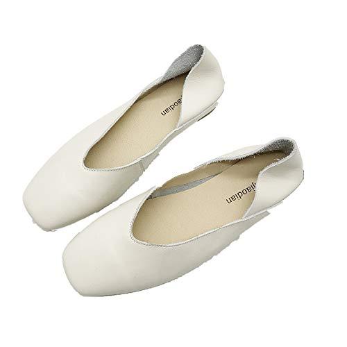 Ballet 38 Cuir Eu On Chaussures Slip Femme Zhrui coloré Blanc Taille Casual Blanc Flats 4H57wqxp