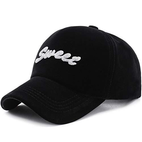 (Women's with Shiny Baseball Cap Rhinestone Logo Curved Visor Glittering Letter Adjustable Size Sweet Hat Black)