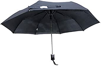 Sun and Rain Stopper 3 Fold Automatic Open Umbrella Black with Self Emboss
