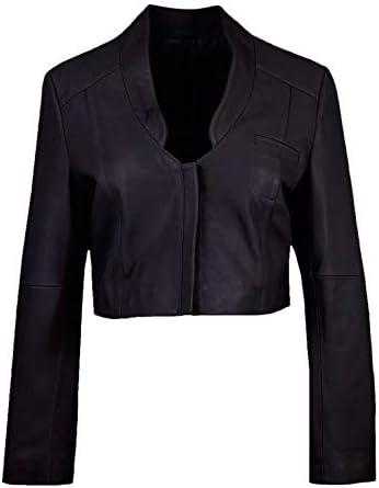 Etoile Vierge Womens Leather Mini Jacket in Black