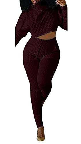 Chimikeey Women Turtleneck Two Piece Outfit Sets Crop Top And Long Pants Jumpsuit 2 Piece Knit Outfit