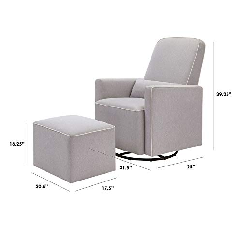 31HVIejrwiL - DaVinci Olive Upholstered Swivel Glider With Bonus Ottoman In Grey With Cream Piping, Greenguard Gold Certified