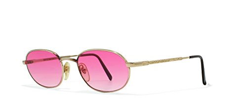 Moschino M3026 515 Gold Flat Lens Vintage Sunglasses round For - Sunglasses Moschino Men