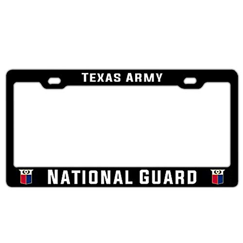 Texas Army National Guard License Plate Frame 2 Holes Black, Car Licence Plate Covers Holders with Chrome Screw for US Vehicles(1PCS)