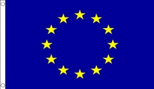 5ft x 3ft (150 x 90 cm) European Union EU Euro Blue Star Emblem 100% Polyester Material Flag Banner Ideal For Club School Business Party Decoration Flag Co